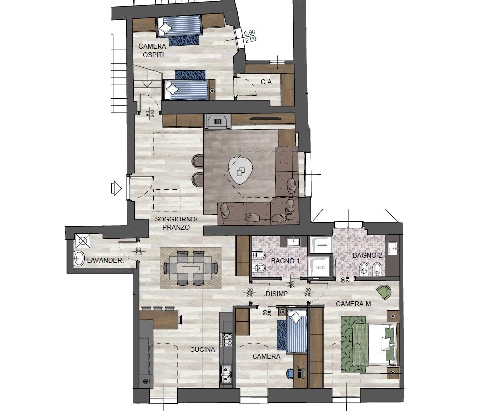 Quadrilocale D2 - Sup. Comm. 164 mq - 790.000 €