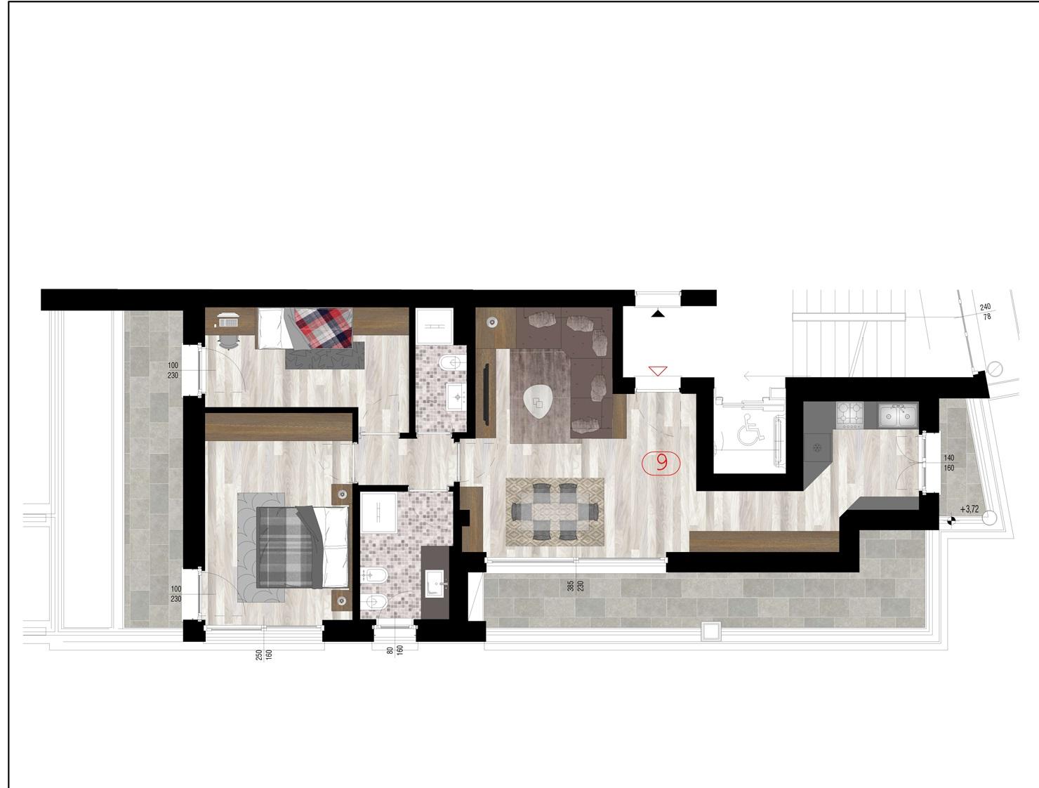 Trilocale 9 piano quarto - sup. commerciale mq 108 - € 520.000