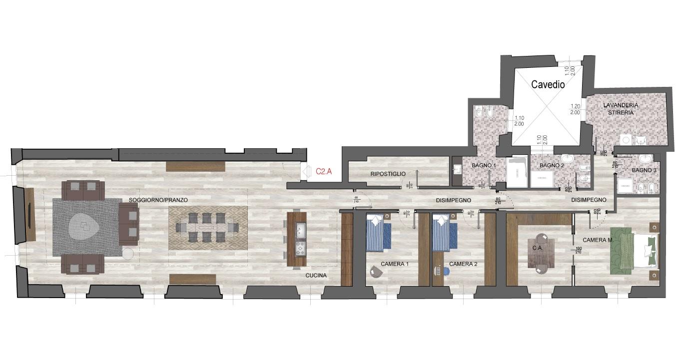 Quadrilocale C2A - Sup. Comm. 298 mq - 1.600.000 €