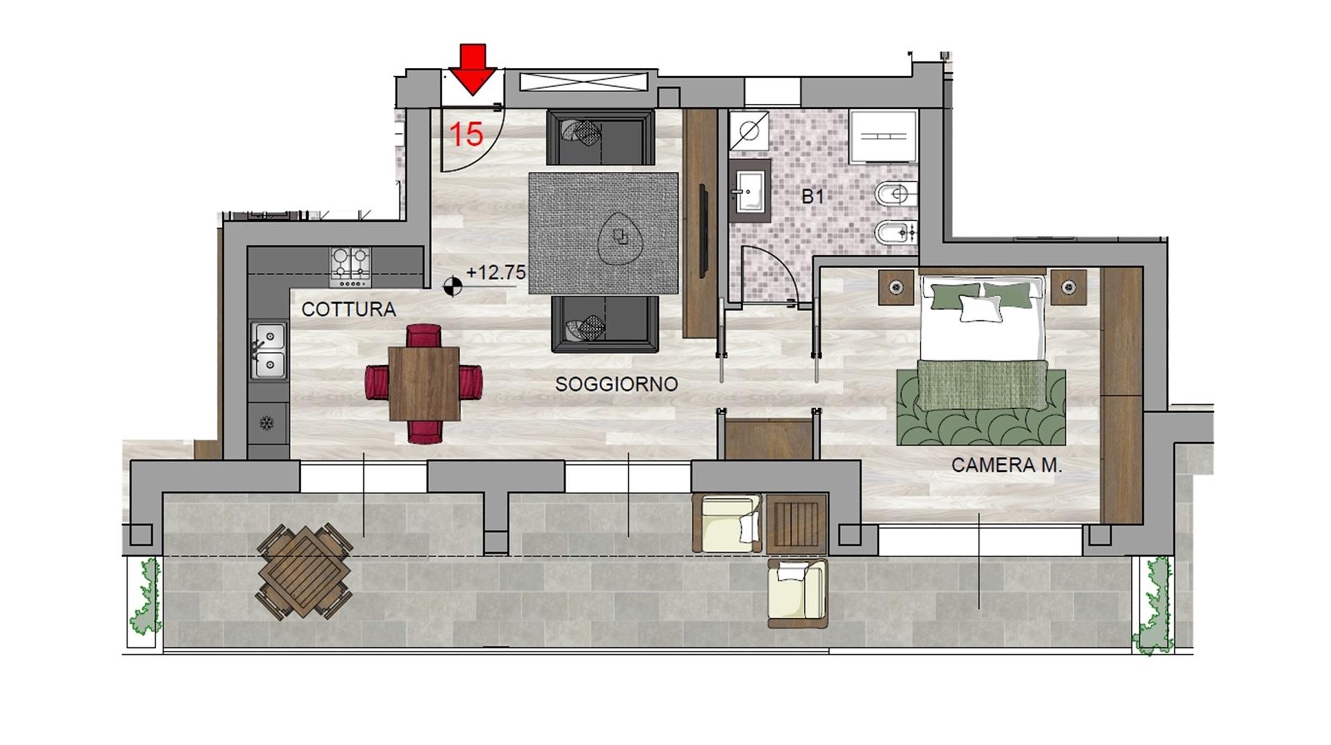 Bilocale n°15 Piano Quarto - Sup. Commerciale 87 mq - 230.000 (ultima disponibilità ultimo piano)