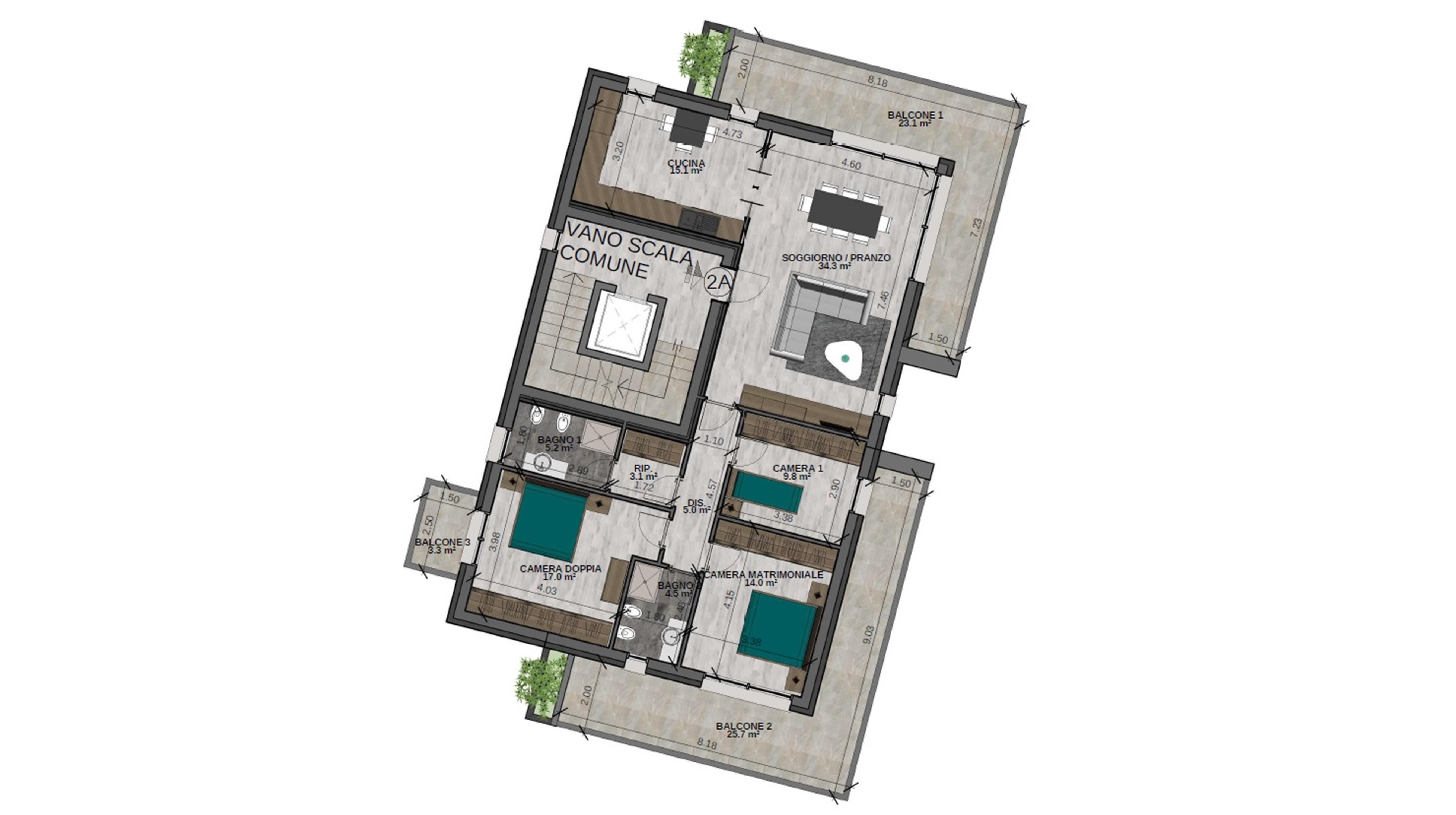 Quadrilocale 2A Piano Secondo - Sup. comm. 161 mq - 540.000 €