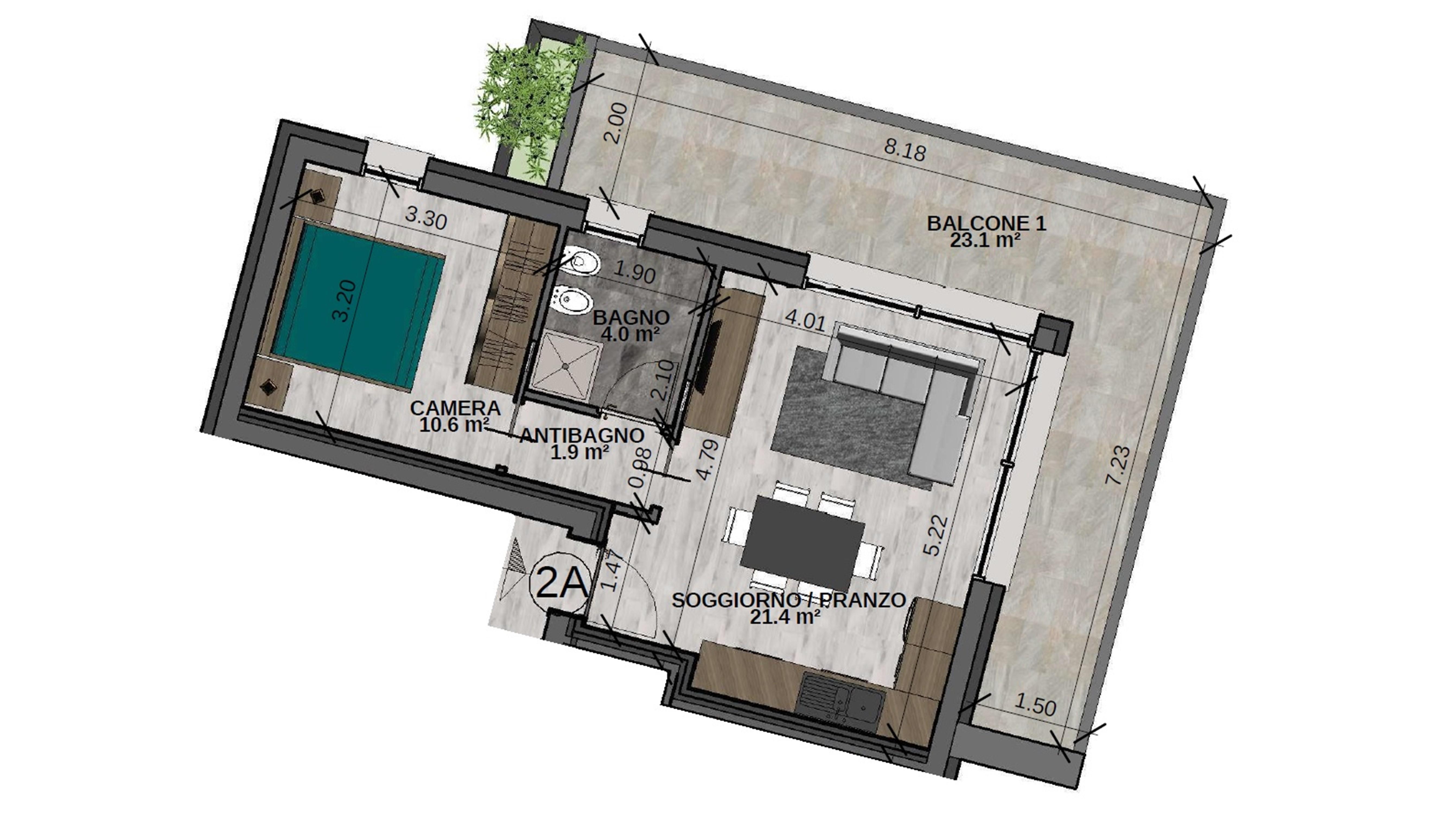 VARIANTE: Bilocale 2A Piano Secondo - Sup. comm. 60 mq - 220.000 €