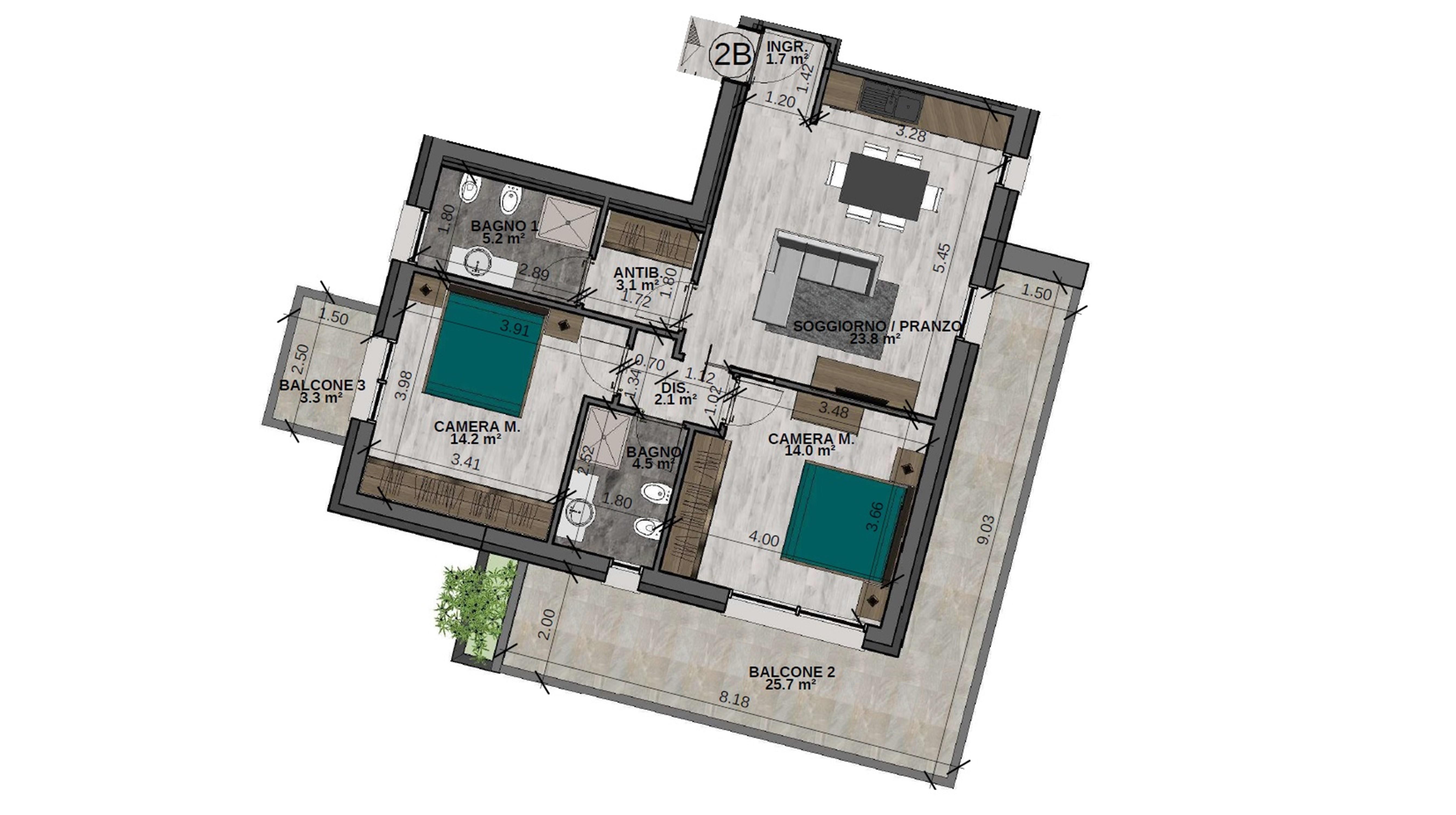 Trilocale 2B Piano Secondo - Sup. comm. 102 mq - 355.000 €