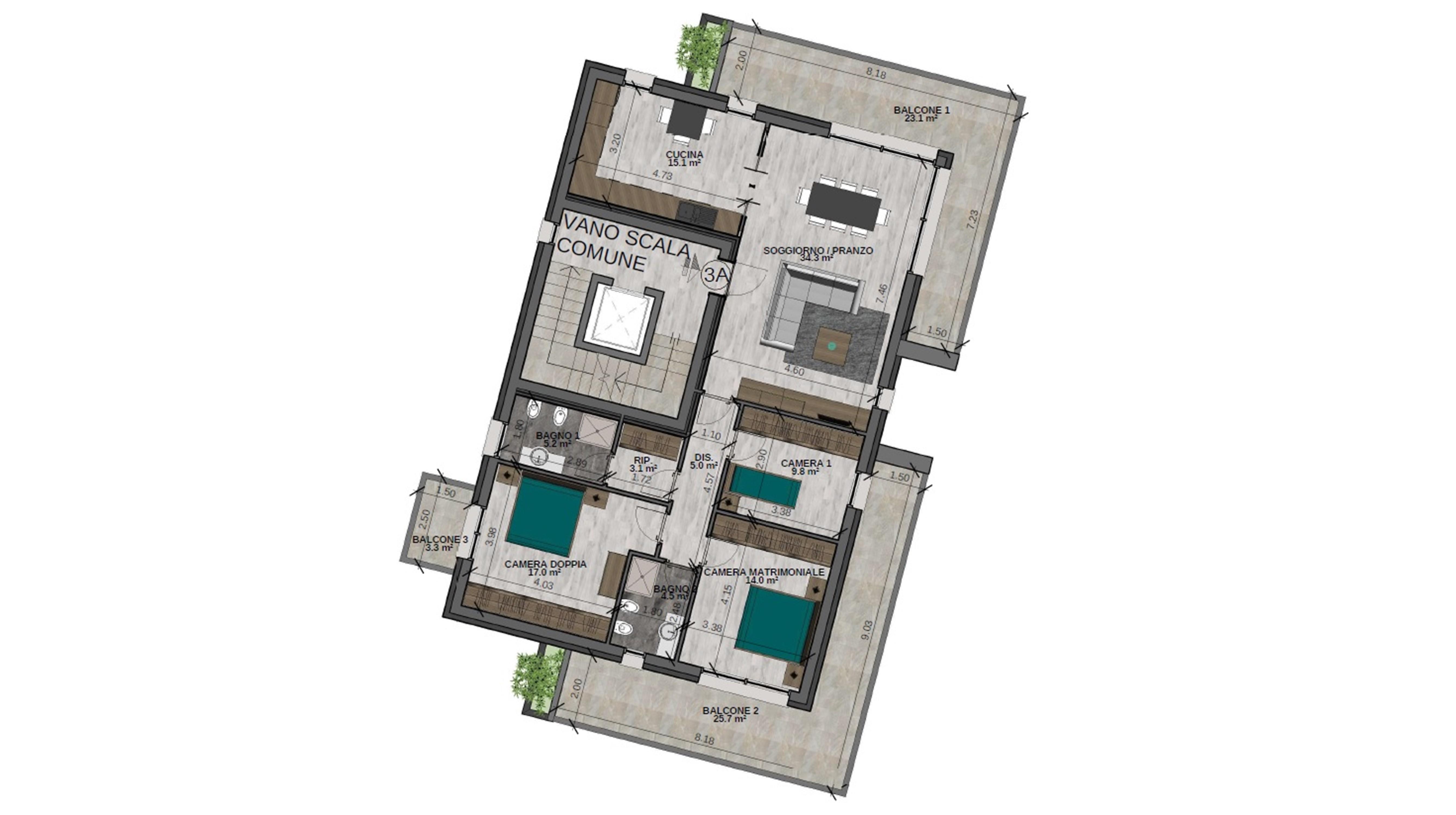 Quadrilocale 3A Piano Terzo - Sup. comm. 161 mq - 560.000 €