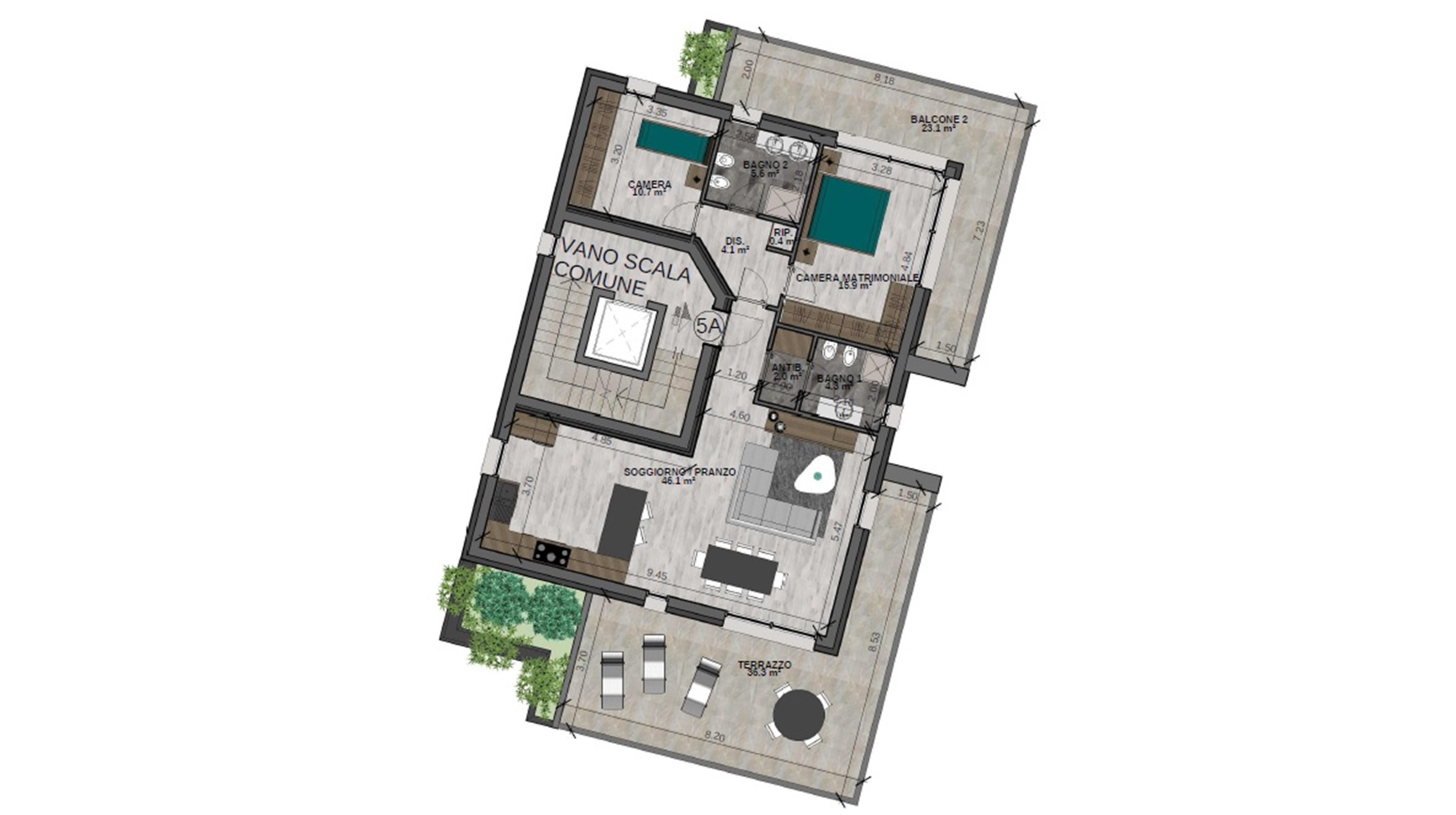 Trilocale (possibilità quadrilocale) 5A Piano Quinto - Sup. comm. 141 mq - 560.000 €