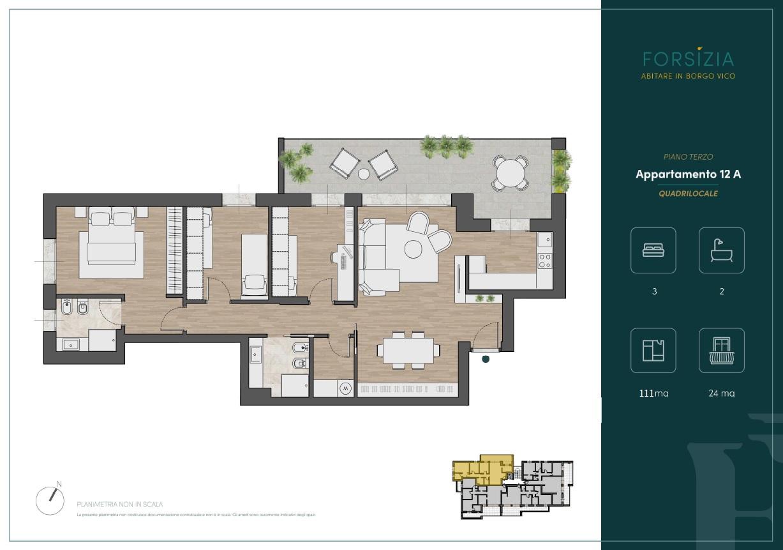 PIANO TERZO - Quadrilocale 12A - Sup. Comm. 132 mq - 485.000 €