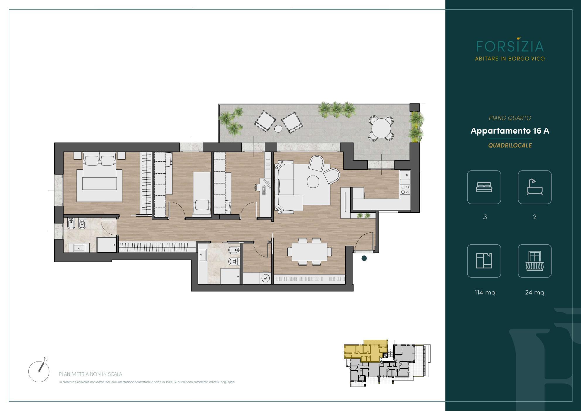 PIANO QUARTO - Quadrilocale 16A - Sup. Comm. 135 mq - 510.000 €