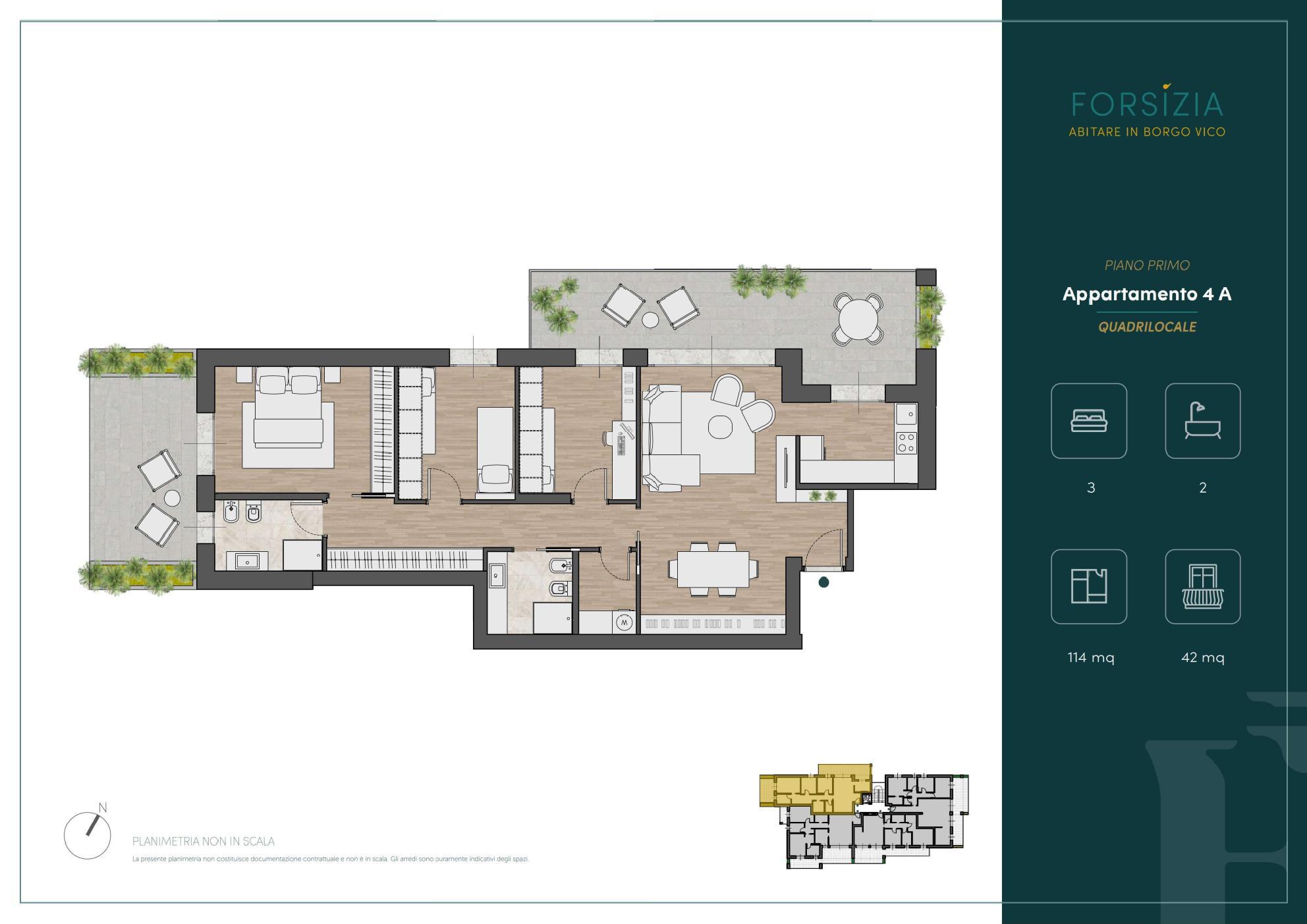 PIANO PRIMO - Quadrilocale 4A - Sup. Comm. 144 mq - 435.000 €