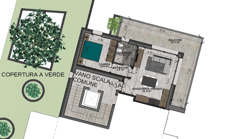 Bilocale 1A Piano Primo (VARIANTE) - Sup. comm. 60 mq - 200.000 €