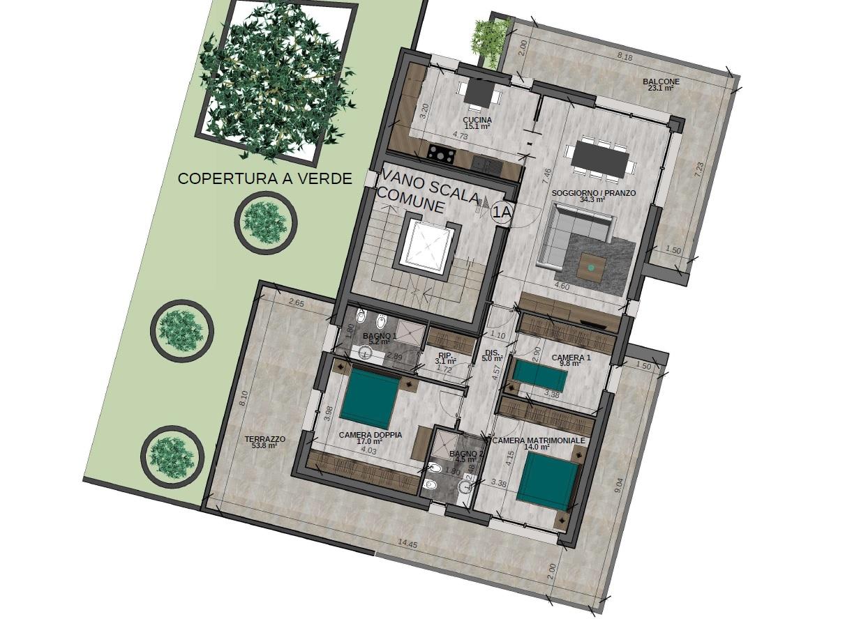 Quadrilocale 1A Piano Primo (VARIANTE) - Sup. comm. 169 mq - 530.000 €