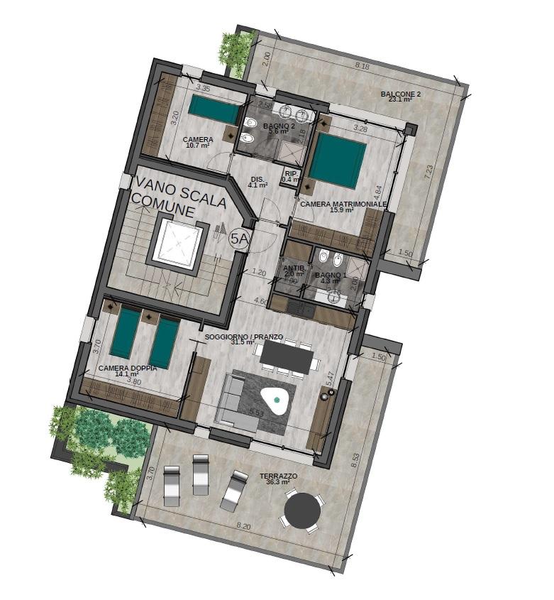 Quadrilocale 5A Piano Quinto (VARIANTE) - Sup. comm. 141 mq - 560.000 €