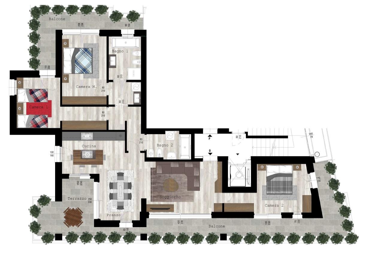Piano Quinto: Appartamento 132mq + terrazzi, box doppio, cantina e parti comuni