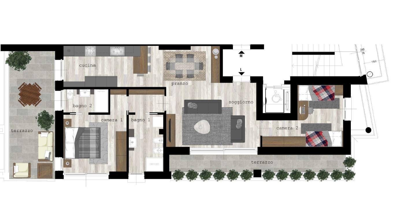 Piano Quarto: Appartamento 90mq + terrazzi, box singolo, cantina e parti comuni